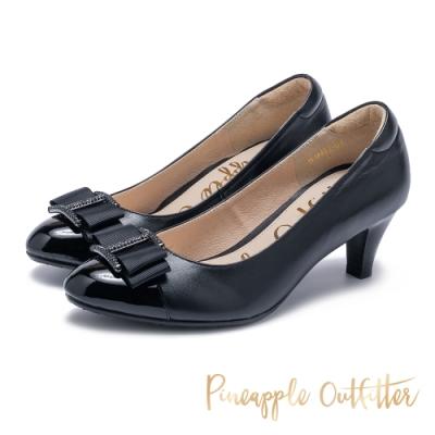 Pineapple Outfitter 水鑽蝴蝶結 真皮拼接中跟鞋-黑色
