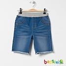 bossini男童-丹寧休閒短褲03淡藍