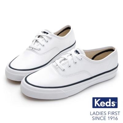 Keds SURFER 極簡時尚皮革綁帶休閒鞋-白