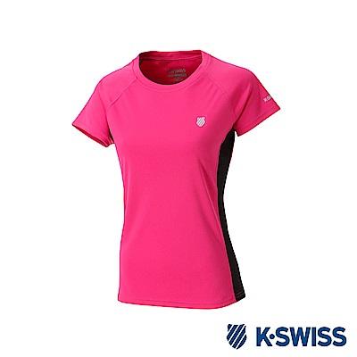 K-SWISS PF Solid Tee排汗T恤-女-桃紅