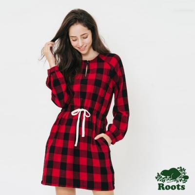 女裝 ROOTS - 格紋平織長袖洋裝-紅色