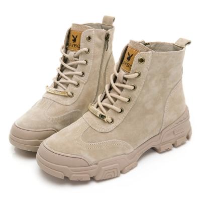 PLAYBOY 洗鍊風格經典麂皮短靴-卡-Y583300