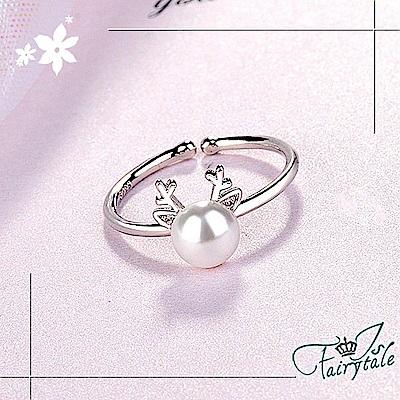 iSFairytale伊飾童話 水鑽鹿角 珍珠開口戒指 @ Y!購物