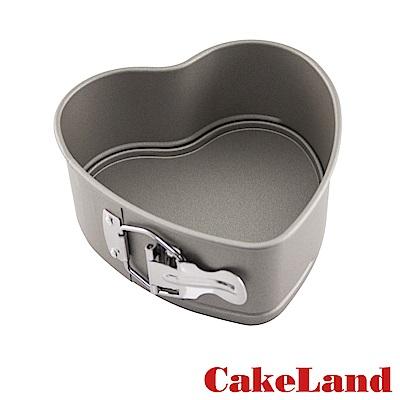 日本CakeLand 16cmCake扣環活動式不沾心型蛋糕模-日本製