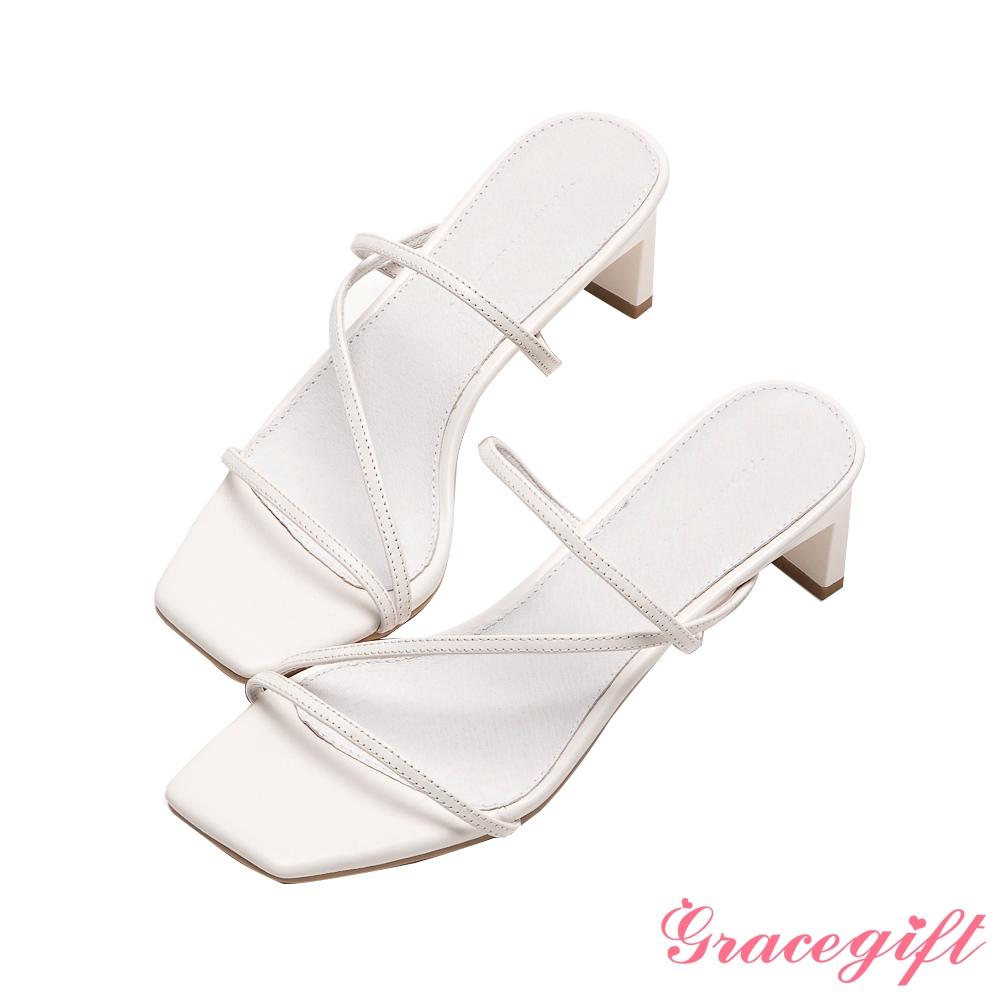 Grace gift X Amanda聯名-全真皮細帶窄跟涼拖鞋 白