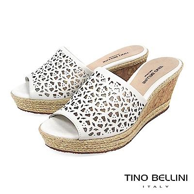 Tino Bellini 巴西進口鏤空藝術麻編楔型涼拖鞋 _ 白