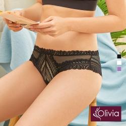 Olivia 法式蕾絲性感三角中低腰內褲-黑色