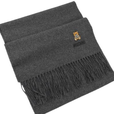 MOSCHINO 刺繡小熊圖樣羊毛圍巾(灰)