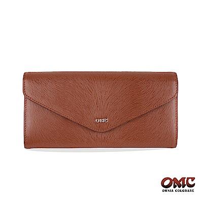 OMC 進口牛皮-馬尾紋信封型16卡雙格層後拉鏈袋長夾-咖啡色