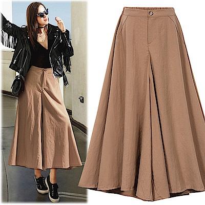 MOCO高腰垂墬感單釦後鬆緊腰水洗棉麻超寬闊腿褲裙L~4L