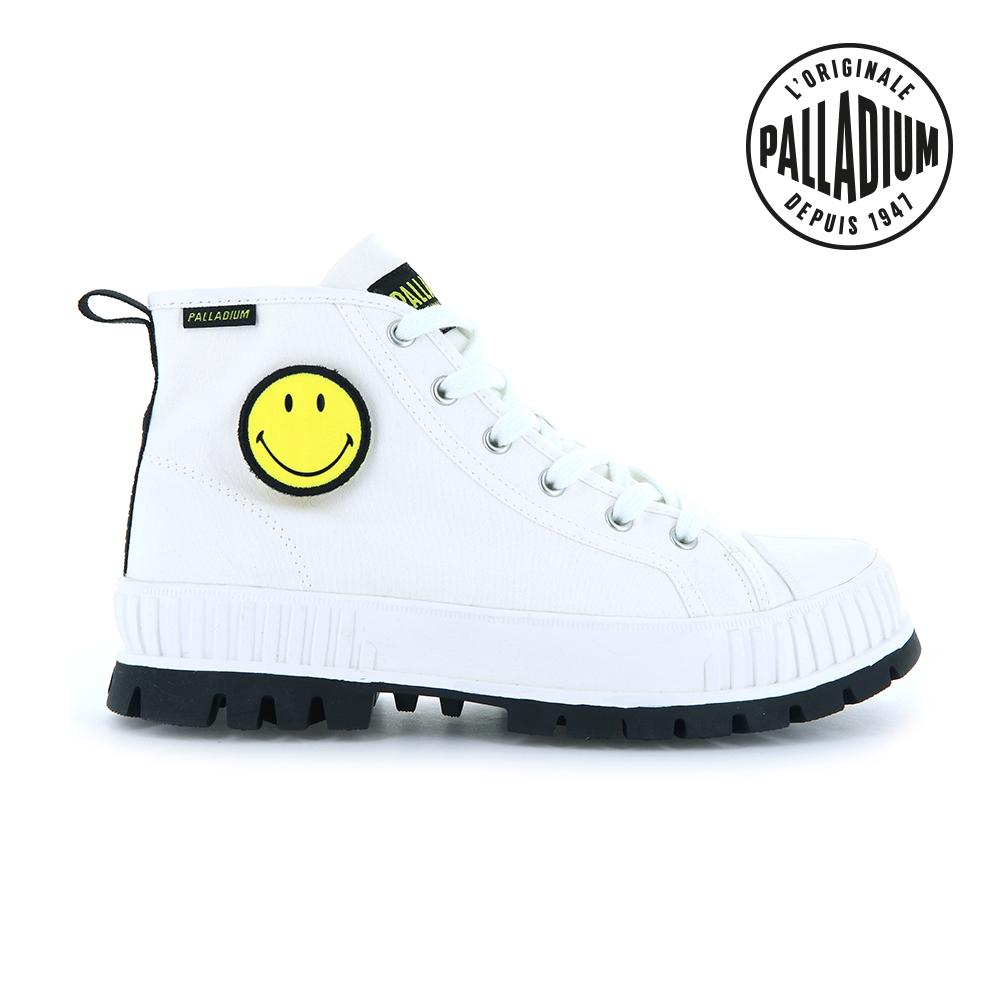 PALLADIUM PALLASHOCK SMILEY HI微笑聯名巧克力厚底鞋-中性-白