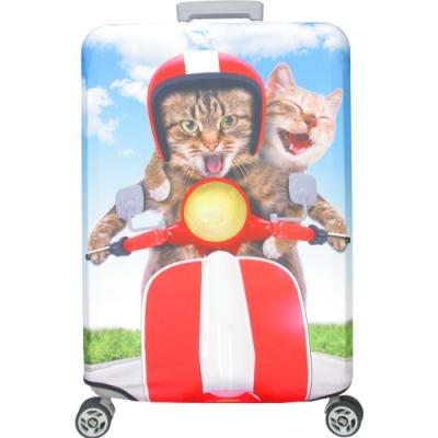 新一代 機車情侶貓行李箱保護套(25-28吋行李箱適用)