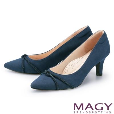 MAGY 水鑽條飾絨布尖頭 女 高跟鞋 藍色
