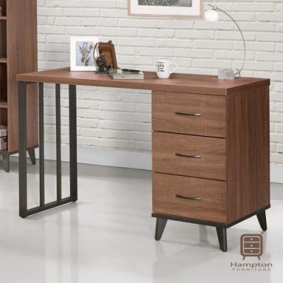 漢妮Hampton麥爾斯系列淺胡桃4尺三抽書桌-121x56x80.7