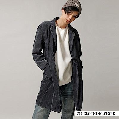 復古燈芯絨長版外套(2色) ZIP日本男裝