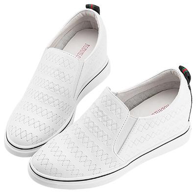 Robinlo & Co.簡約圖騰壓紋牛皮內增高休閒鞋 白
