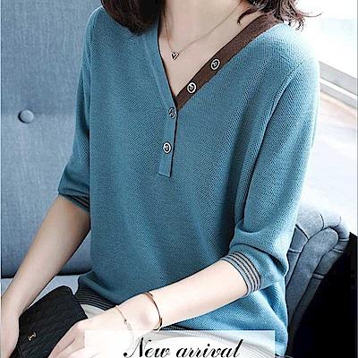 初色  時尚拼接V領七分袖針織衫-藍色-(M-2XL可選)