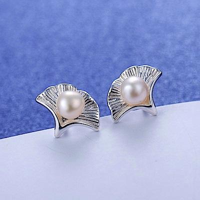 梨花HaNA 韓國925銀針珍珠杏葉氣質耳環