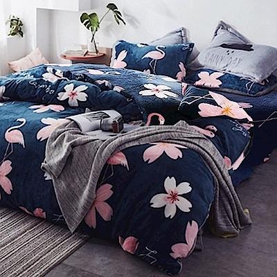 La Lune 冬季首選軒 s百分百法蘭絨雙人加大床包毯被四件組 文青紅鶴
