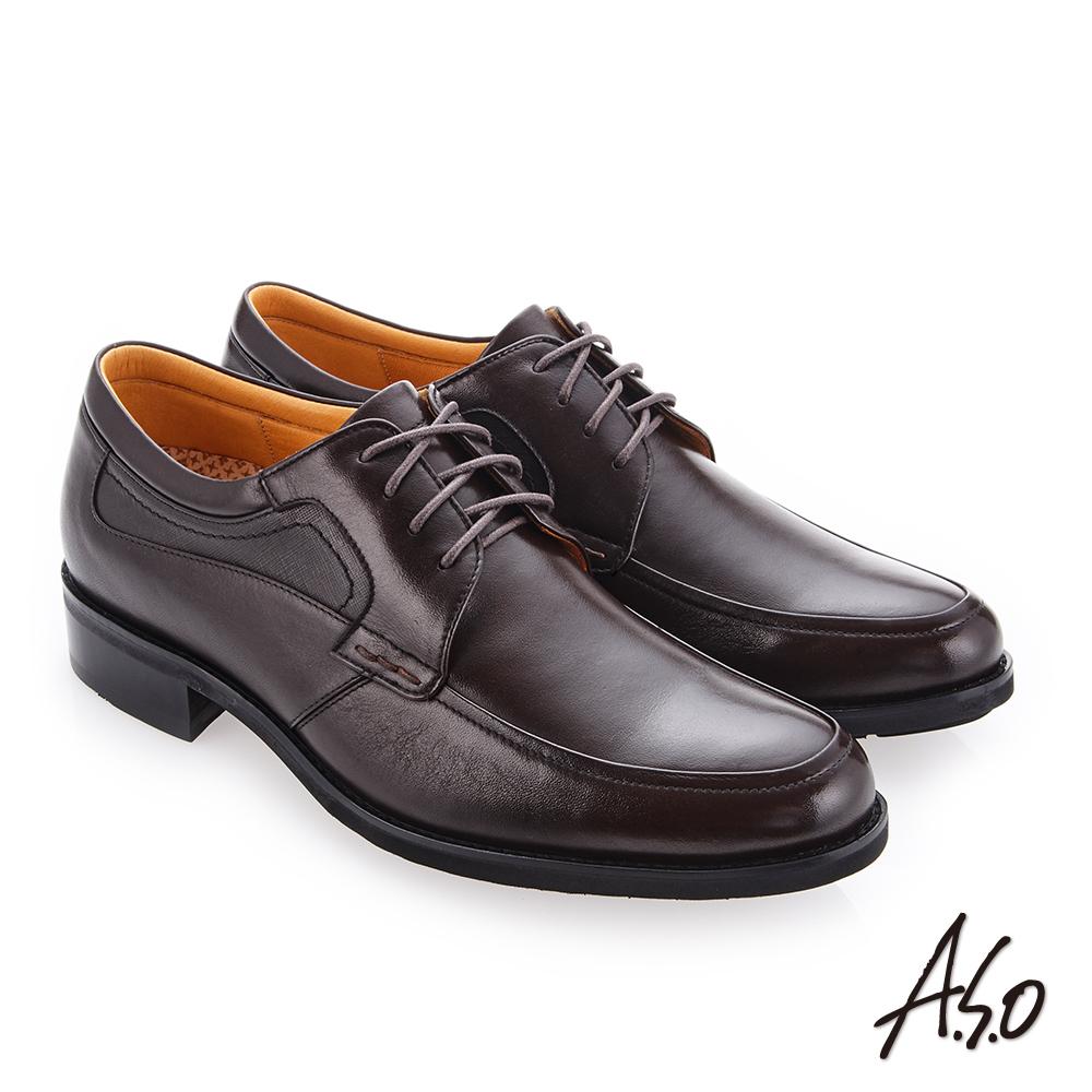 A.S.O 霸足氣墊 綁帶牛皮奈米紳士皮鞋 咖啡