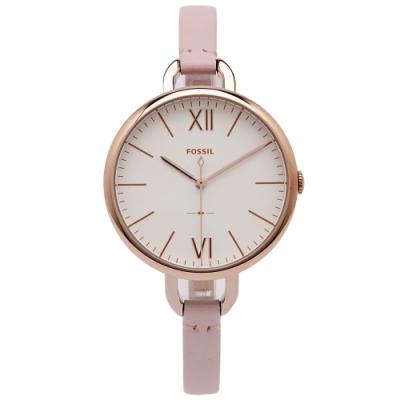 FOSSIL 唯美風簡約的皮革手錶(ES4356)-白色面X粉色/36mm