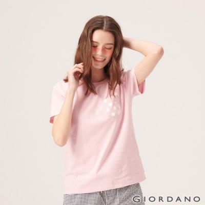 GIORDANO 女裝夢幻獨角獸系列純棉寬版口袋T恤-13 女郎粉