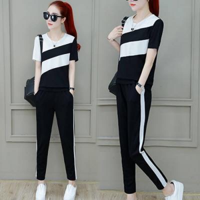 【韓國K.W.】(預購)線條設計運動套裝褲-3色