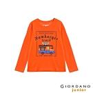 GIORDANO 童裝童趣塗鴉風印花長袖T恤-62 錦鋰橙