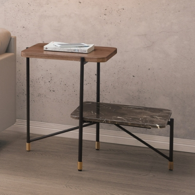 Boden-安柏2.3尺工業風石面小茶几/邊桌-69x40x55cm