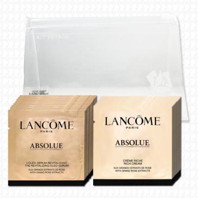 蘭蔻 絕對完美黃金玫瑰修護乳霜1mlx12-豐潤版+修護精華1mlx12(贈夾鏈袋)