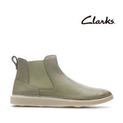 Clarks 步步清新 簡約復古細緻縫線切爾西款女靴 沙色
