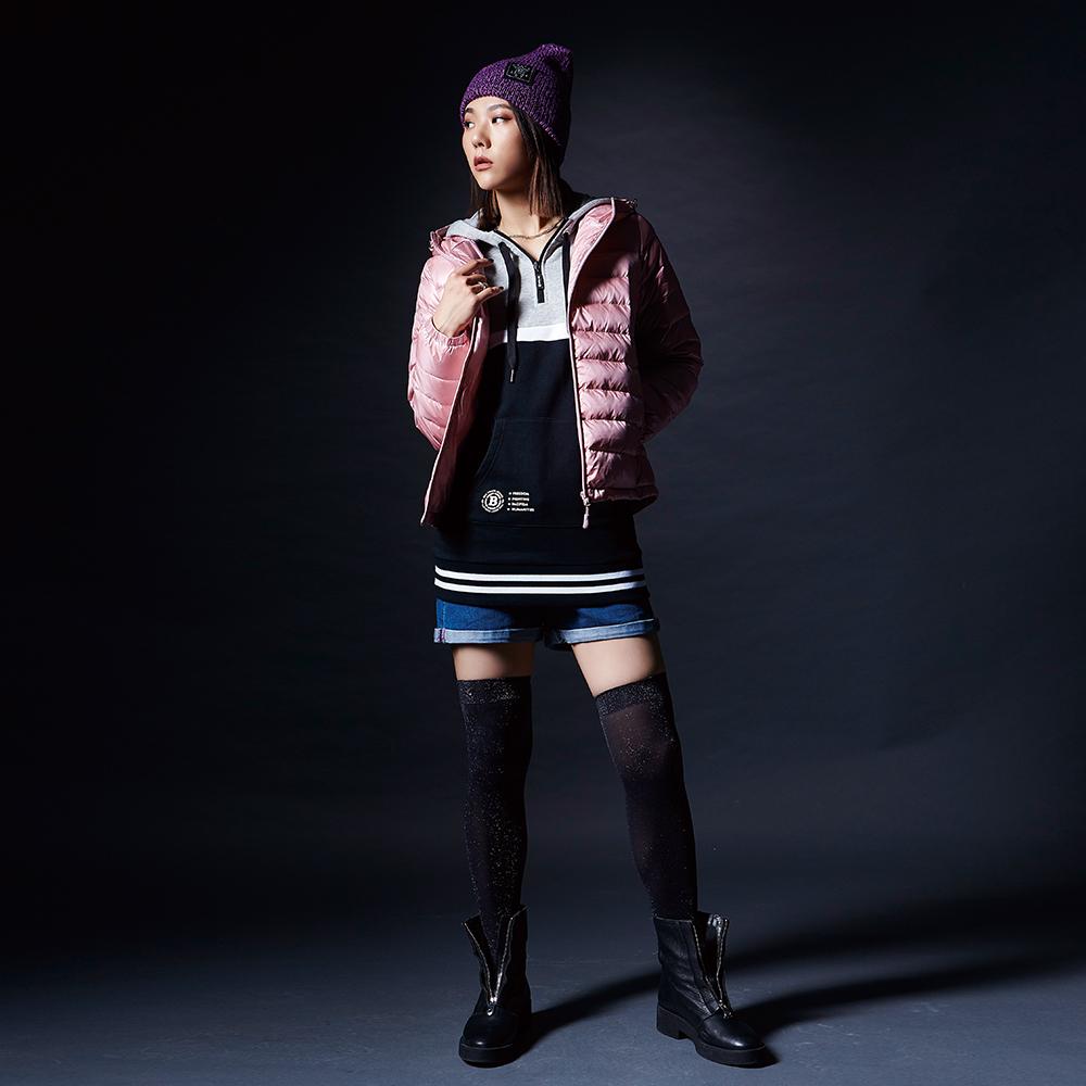 BIG TRAIN 長版配色連帽厚绒女款-女-黑