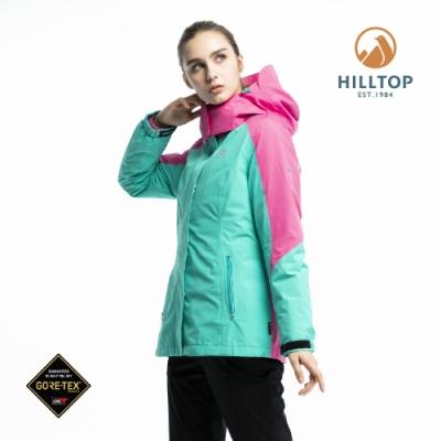 【hilltop山頂鳥】女款GORE-TEX三合一防水羽絨拆袖短大衣PF22XFZ7ECMF綠