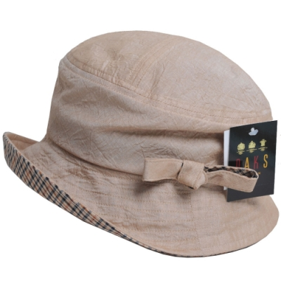 DAKS 日本製抗UV科技纖維格紋蝴蝶結造型遮陽帽(卡其色)