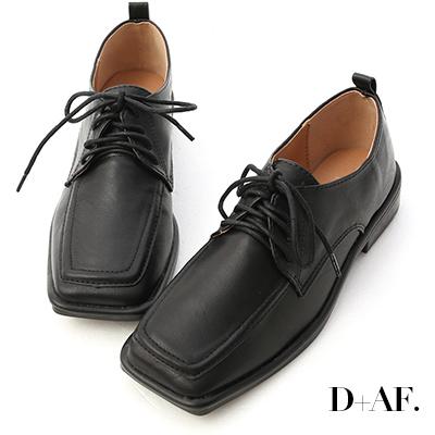 D+AF 經典古著.方頭綁帶低跟牛津鞋*黑