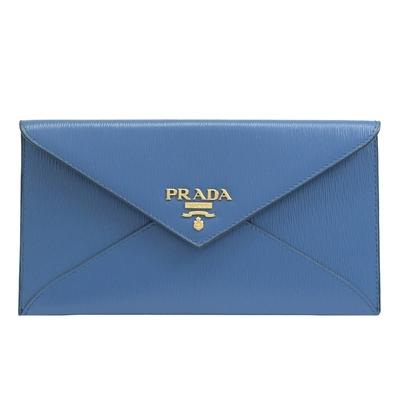 PRADA 金屬LOGO水波紋信封釦式長夾(藍)