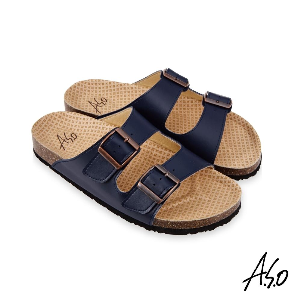 A.S.O 足健康雙帶釦拖鞋-藍色