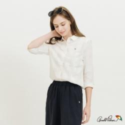 Arnold Palmer-女裝-隱約格紋全開襟襯衫-白