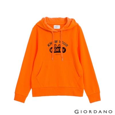 GIORDANO  女裝CHECKS連帽T恤 - 22 橙色