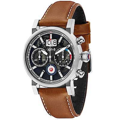 AVI-8 飛行錶 HAWKER HURRICANE 潮流手錶-黑x咖啡/45mm