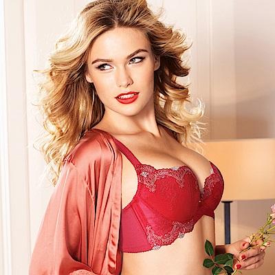 黛安芬-蝴蝶逆齡bra系列 B-E罩杯內衣 性感紅