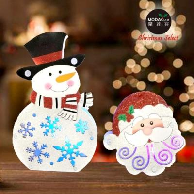 摩達客 聖誕金蔥彩繪LED電池燈吊飾對組-聖誕老公公+雪人(一組兩入)