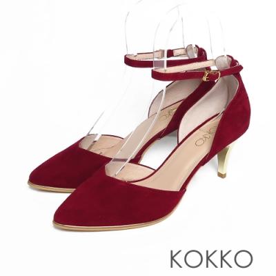 KOKKO -  優雅女神尖頭羊皮踝帶高跟鞋 - 紅