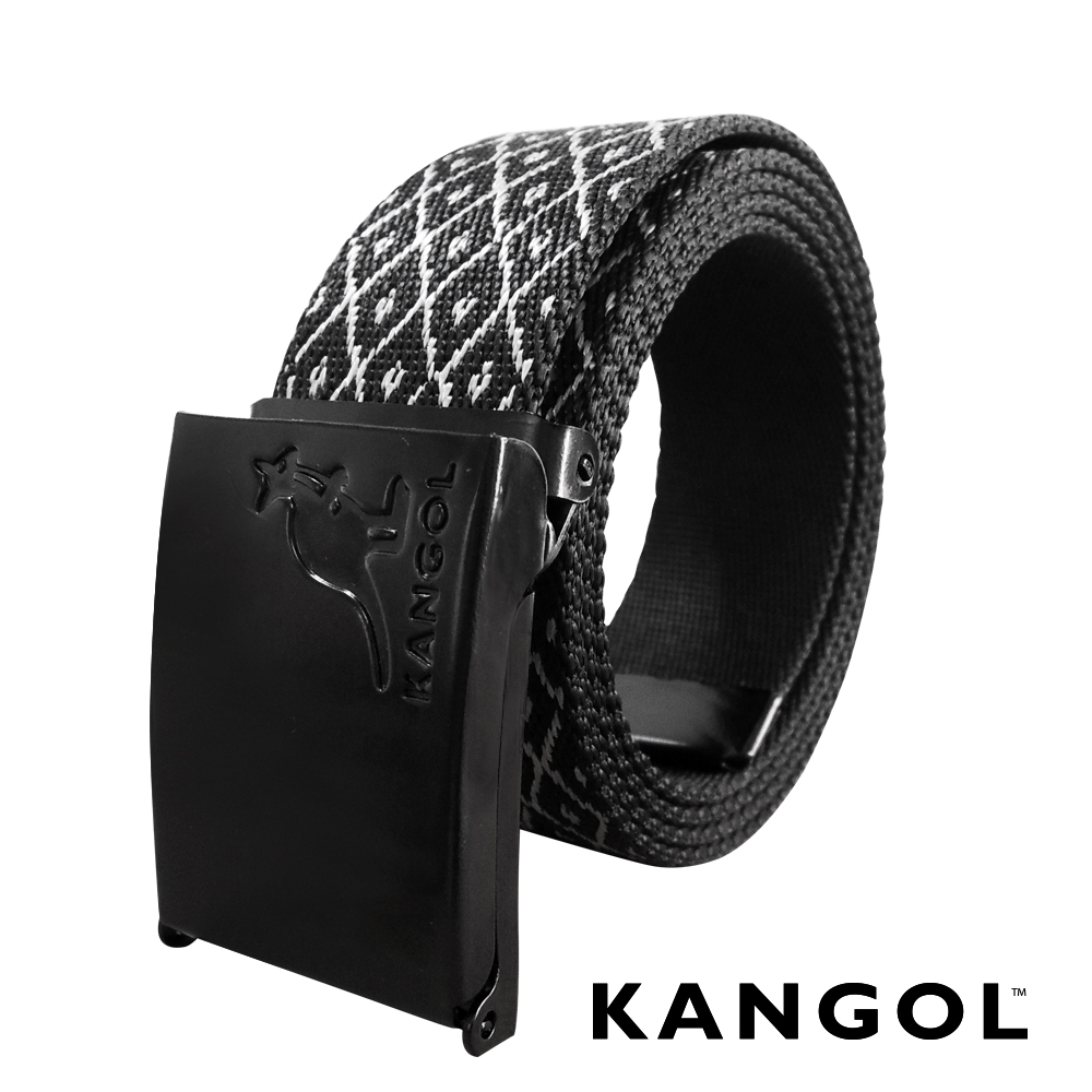 KANGOL EVOLUTION系列 英式潮流休閒自動釦皮帶-銀色格子