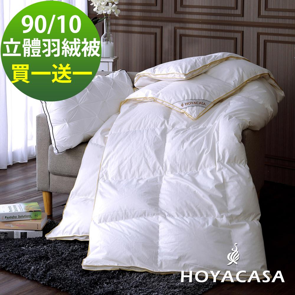 HOYACASA法國90/10立體隔間羽絨被(雙人6x7尺)-買一送一超值組