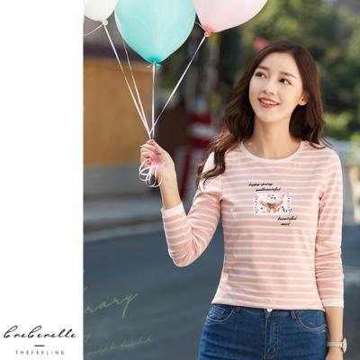 2F韓衣-韓系撞色圓領刺繡造型上衣-粉(M-2L)