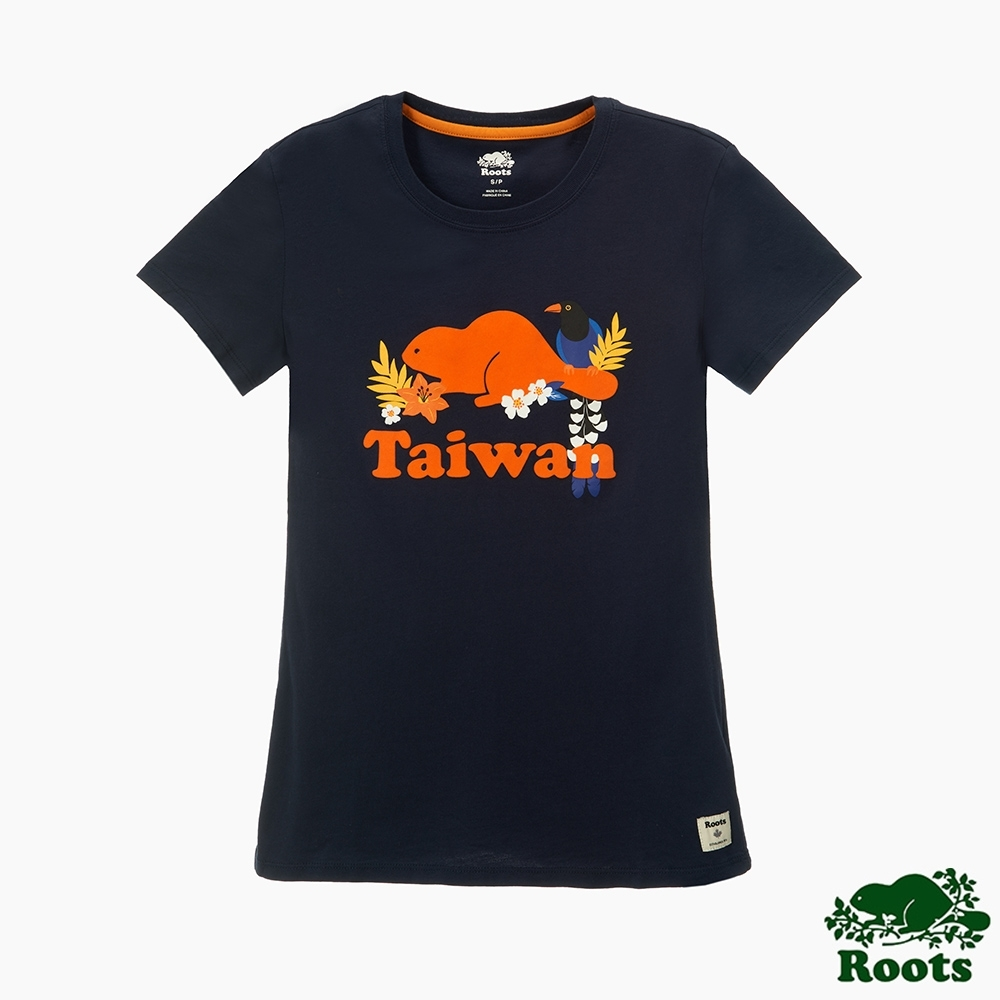 Roots女裝- 台灣日系列保育動物短袖T恤-藍色