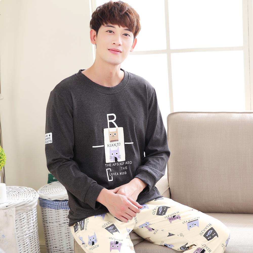 男睡衣 米黃卡通小貓情侶裝-米黃.深灰(男)