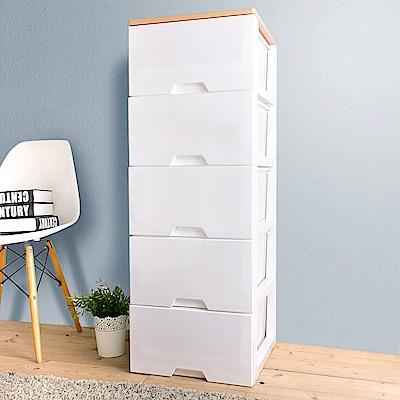 HOUSE 台灣製 木天板-純白衣物抽屜式收納櫃五層【台灣製造】