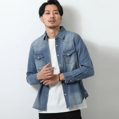 長袖襯衫丹寧薄外套素色單寧3色ZIP日本男裝